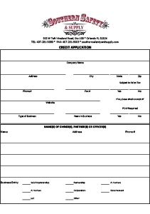 Southern Safety & Supply Credit Application